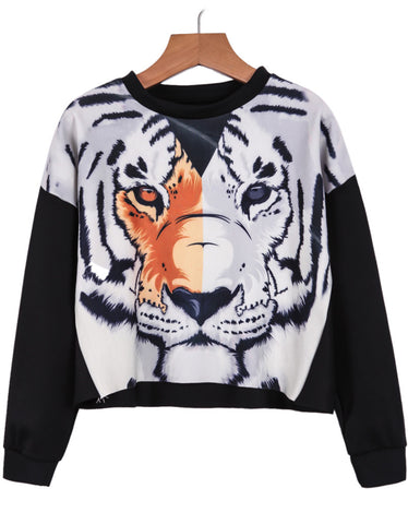 Black Long Sleeve Tiger Print Crop Sweatshirt