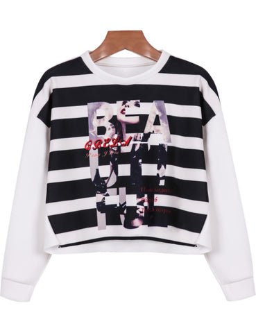 White Long Sleeve Striped Letters Print Sweatshirt