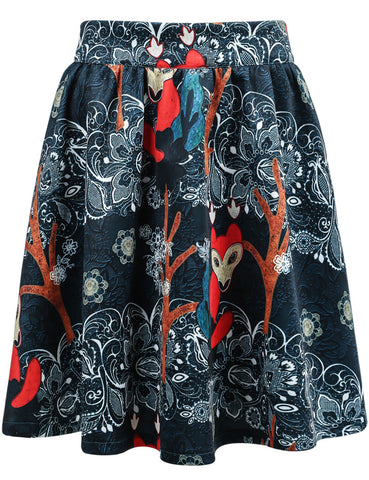 Blue Fox Print Loose Skirt