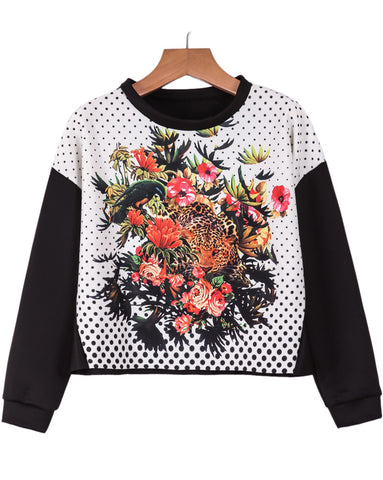Black Long Sleeve Polka Dot Floral Crop Sweatshirt
