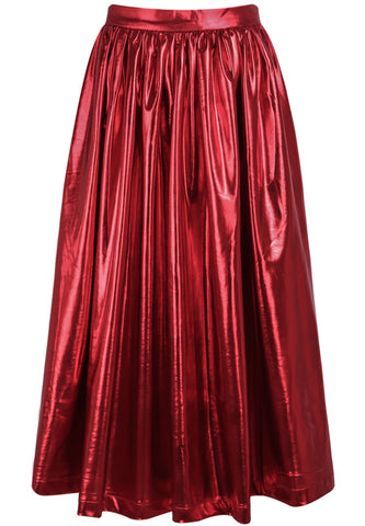 Red High Waist Pleated Skirt