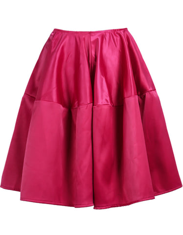 Rose Red High Waist Flare Skirt