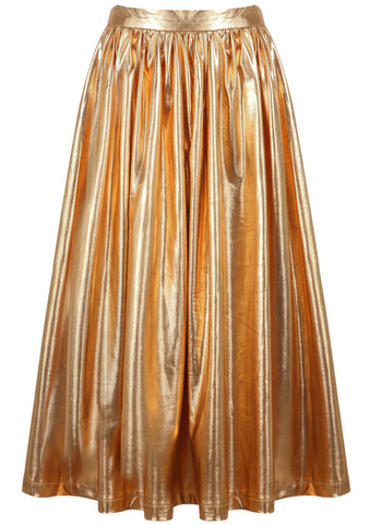 Gold High Waist Pleated Skirt