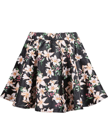 Black Lily Print PU Skirt