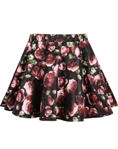 Black Rose Print PU Skirt