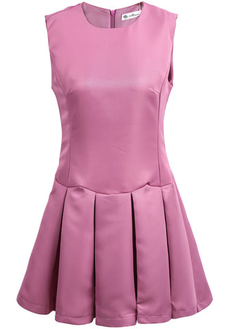 Purple Round Neck Sleeveless Pleated Tank Dress