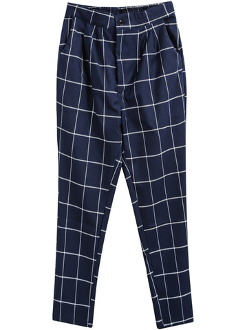 Blue Casual Plaid Loose Pant