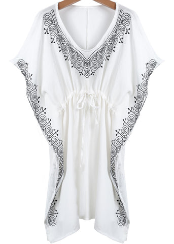 White V Neck Embroidered Loose Blouse