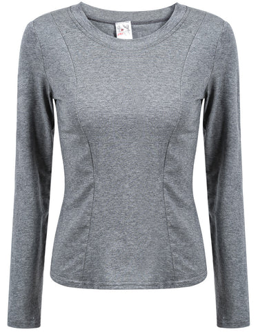 Grey Long Sleeve Hollow Slim Blouse