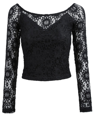 Black Off the Shoulder Lace Blouse