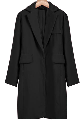 Black Notch Lapel Long Sleeve Loose Blazer