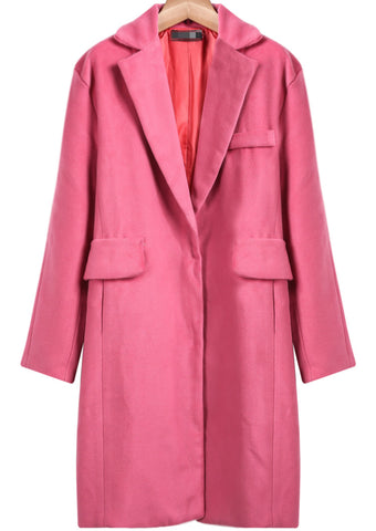 Pink Notch Lapel Long Sleeve Loose Blazer