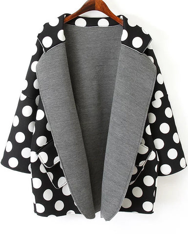 Black Lapel Long Sleeve Polka Dot Coat