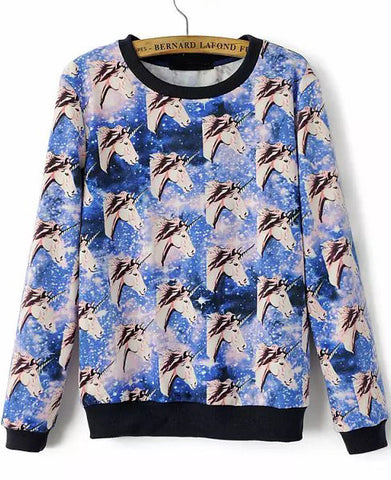 Blue Long Sleeve Horses Print Loose Sweatshirt