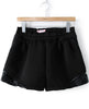 Black Elastic Waist Contrast PU Leather Shorts