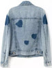 Blue Long Sleeve Bleached Denim Crop Jacket