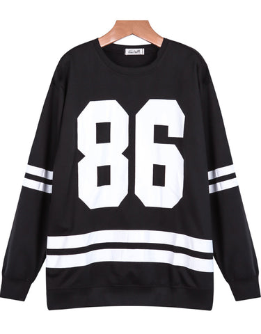 Black Long Sleeve Striped 86 Print Sweatshirt