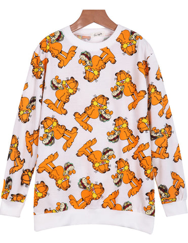 White Long Sleeve Garfield Print Loose Sweatshirt