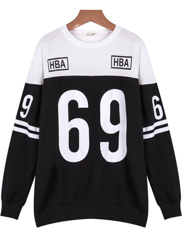 Black Long Sleeve 69 Print Loose Sweatshirt