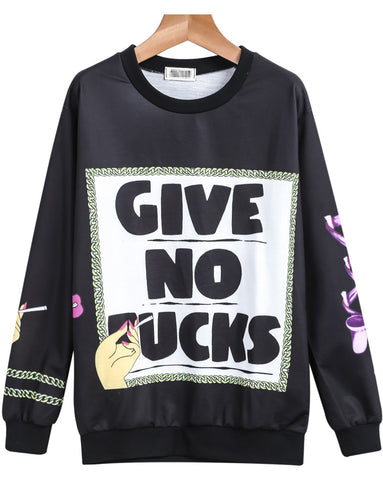Black Long Sleeve GIVE NO FUCKS Print Sweatshirt