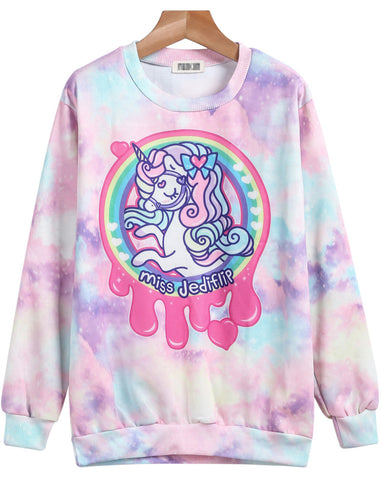 Pink Long Sleeve Horse Print Sweatshirt