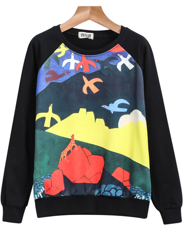 Black Long Sleeve Birds Print Sweatshirt