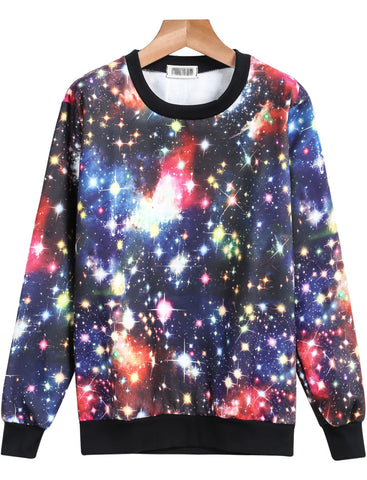 Multicolor Long Sleeve Galaxy Print Sweatshirt