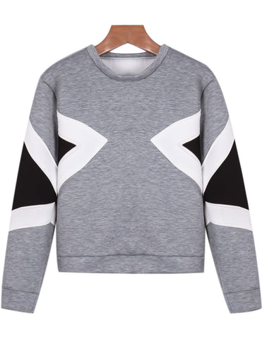 Grey Long Sleeve Geometric Print Crop Sweatshirt