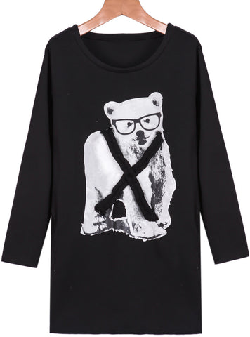 Black Long Sleeve Bear Print Sweatshirt