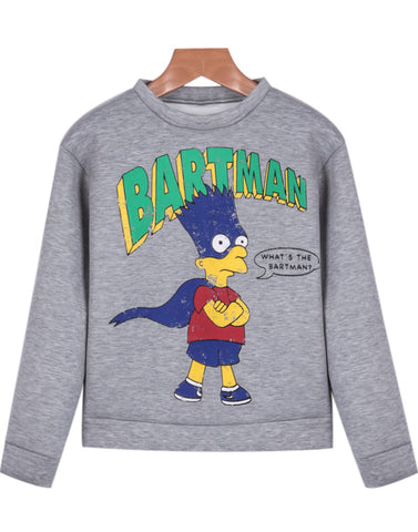 Grey Long Sleeve Simpson Print Crop Sweatshirt