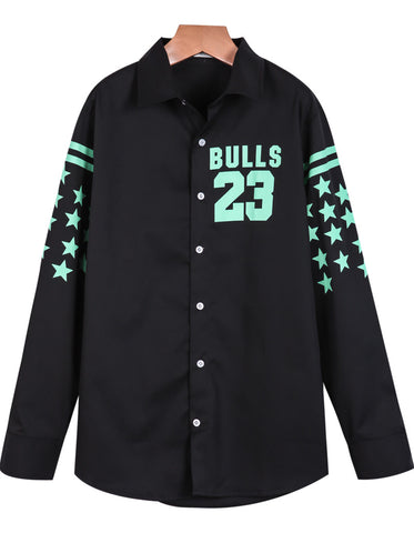 Black Long Sleeve Stars 23 Print Blouse