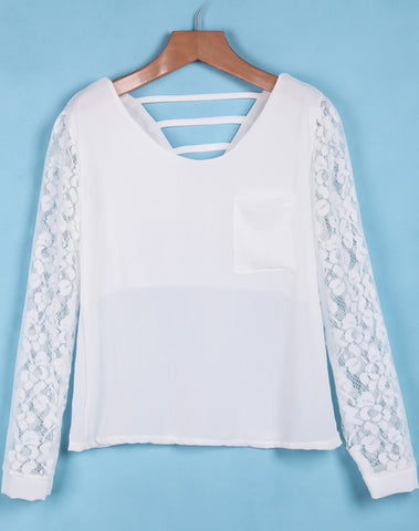White Lace Long Sleeve Hollow Blouse
