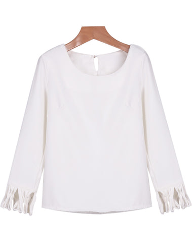 White Long Sleeve Tassel Loose Blouse