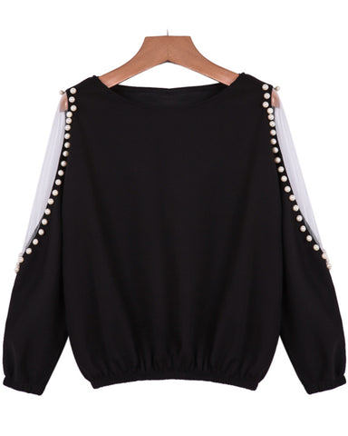 Black Off the Shoulder Bead Blouse