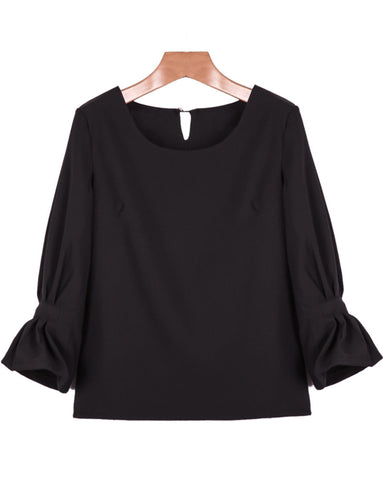 Black Round Neck Long Sleeve Loose Blouse
