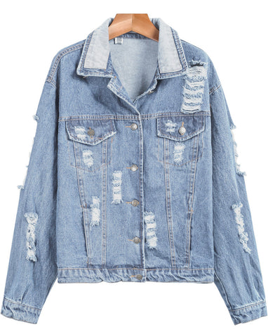 Light Blue Long Sleeve Ripped Denim Jacket