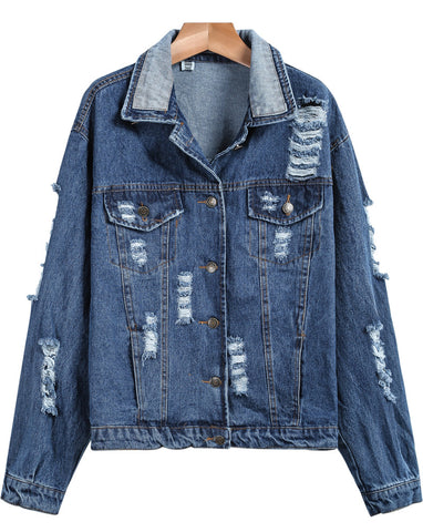 Blue Long Sleeve Ripped Denim Jacket