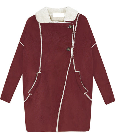 Wine Red Lapel Long Sleeve Pockets Fur Coat