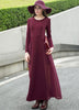 Wine Red Long Sleeve Chiffon Maxi Dress