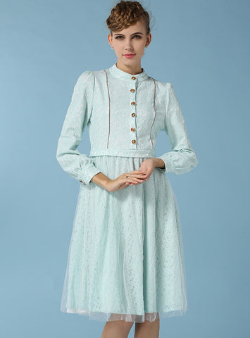 Light Green Long Sleeve Lace Gauze Dress