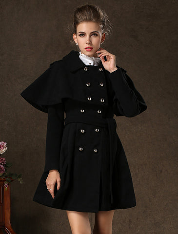 Black Lapel Long Sleeve Cape Dress