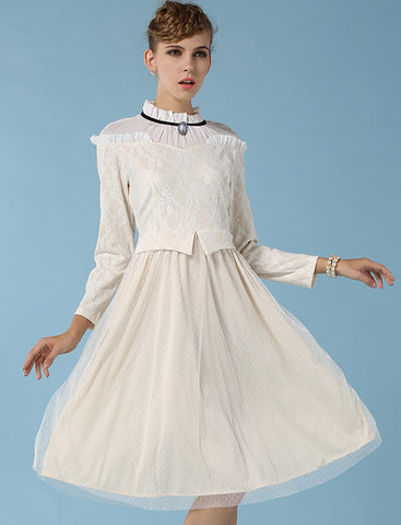 Apricot Long Sleeve Gauze Lace Dress