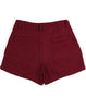 Wine Red Pockets Woolen Shorts