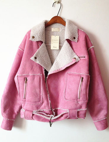 Pink Lapel Long Sleeve Fur Crop Coat