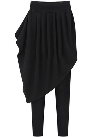 Black Asymmetrical Skirt Leggings