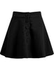 Black Buttons Flare Pleated Skirt