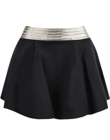 Black Contrast Gold Waist Skirt