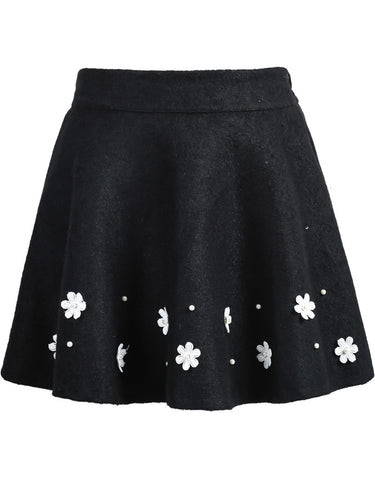 Black Applique Woolen Skirt
