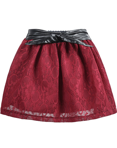 Red Contrast PU Leather Lace Skirt