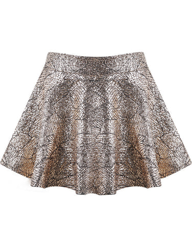 Gold Snakeskin Pleated Skirt
